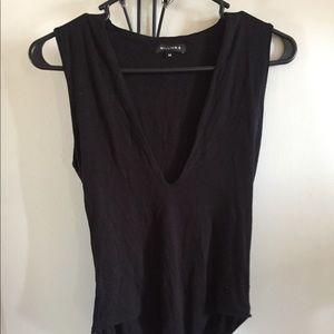 Black deep v body suit
